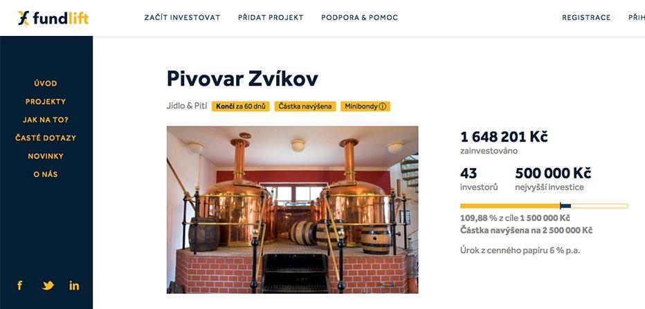 Minipivovar Zvíkov míří na crowdfundingový portál Fundlift.cz, kde poptává 2,5 milionů Kč