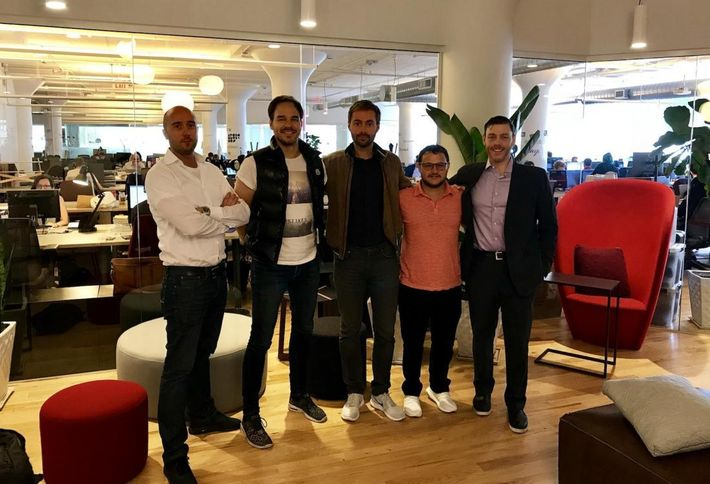 Zleva: Jan Fried (Director), Jan Beránek (CTO), Martin Mucha (CEO). Mitchell Uris (CFO), Aaron Frucher (Director of NYC Operations)