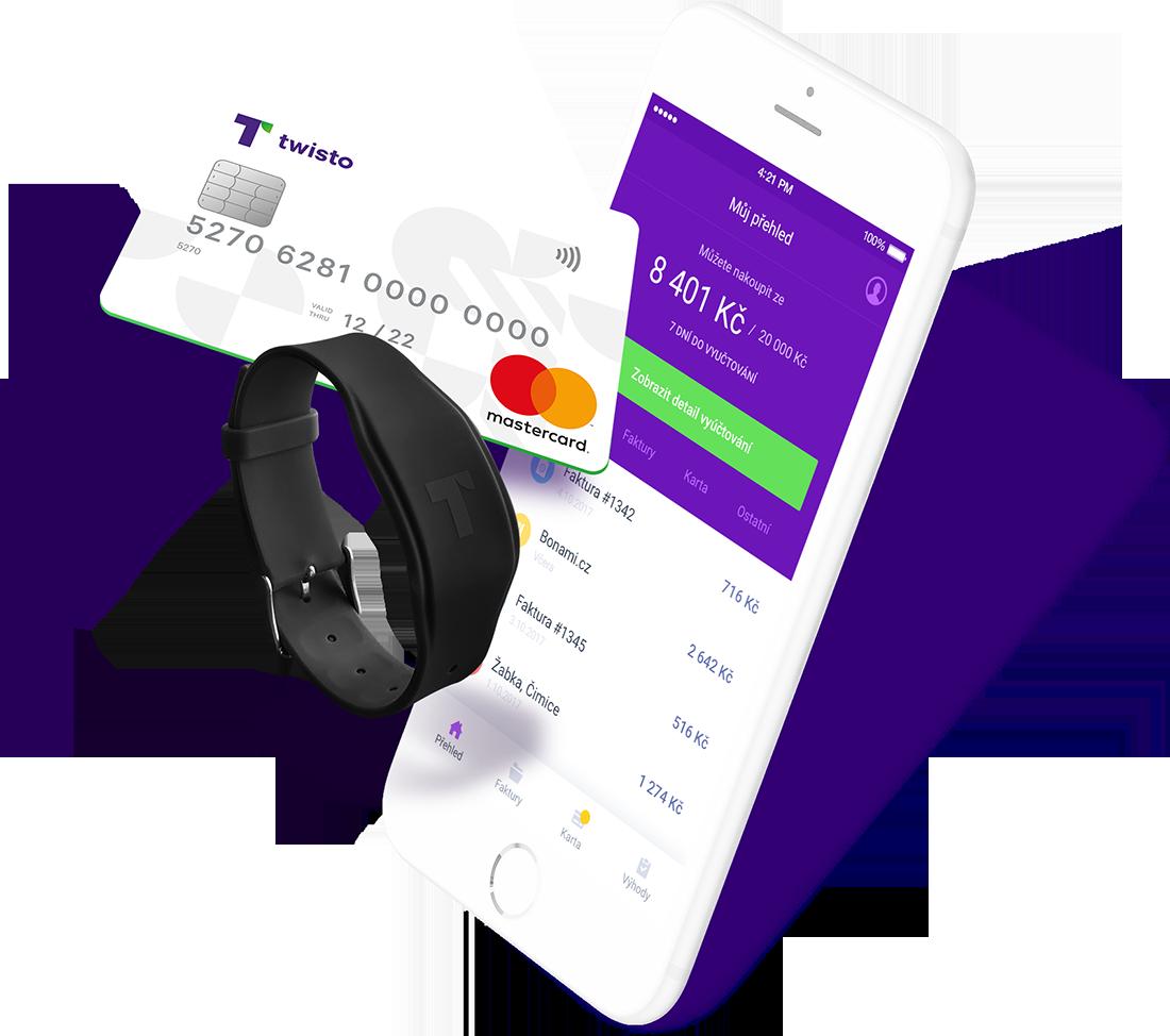 Twisto nabízí i vlastní platební kartu a platební voděodolný náramek
