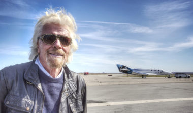 Richard Branson in front of VSS Unity