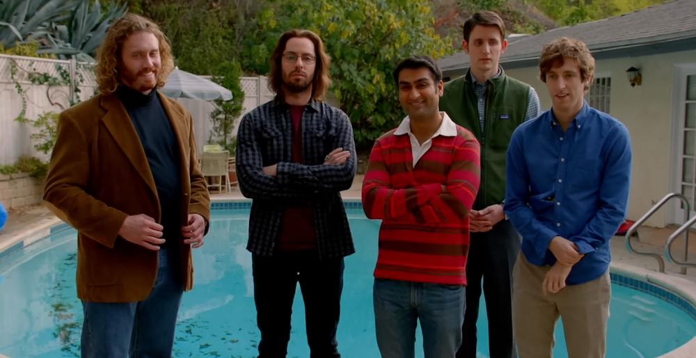 Zleva: Erlich, Gilfoyle, Dinesh, Jared, Richard