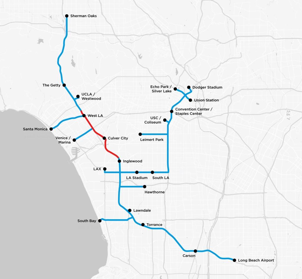 Červeně zaznačená je aktuálně budovaná trasa. Modře pak všechny další plánované.