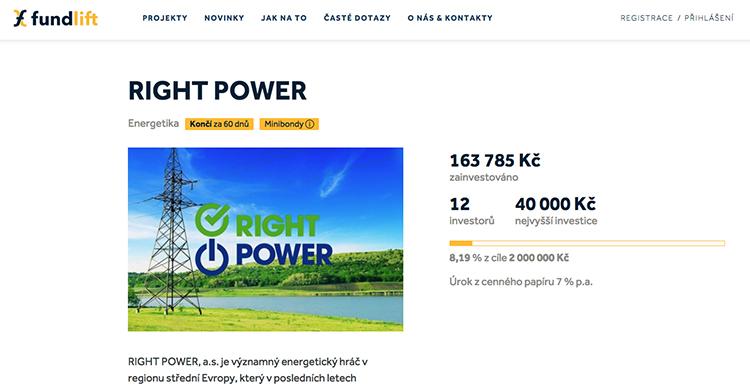Na portál Fundlift.cz vstupuje energetická firma RIGHT POWER s cílem vybrat dva miliony Kč