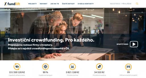 Crowdfunding portál Fundlift.cz po překročení 150 milionů Kč v investicích spustil nový web