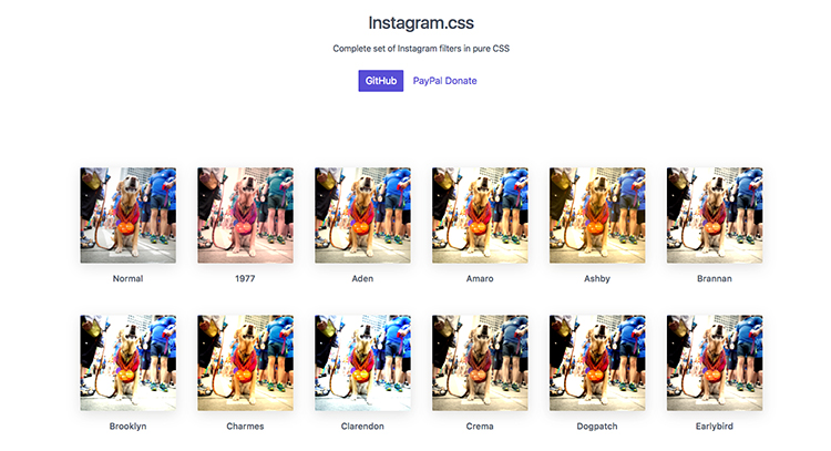 Webový projekt Instagram.css nabízí kompletní sadu Instagram filtrů v CSS