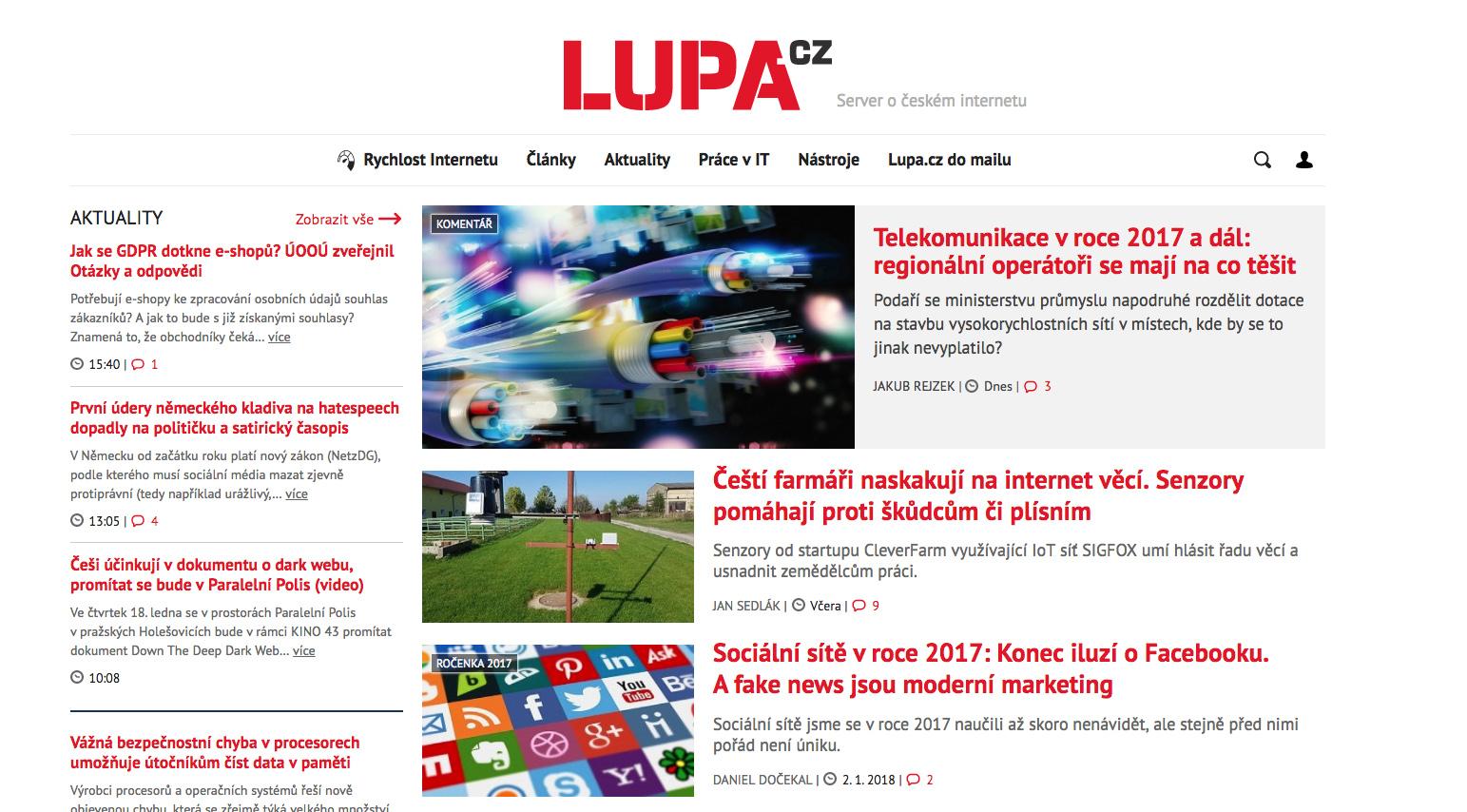Internet Info provozuje například i populární technologický server Lupa