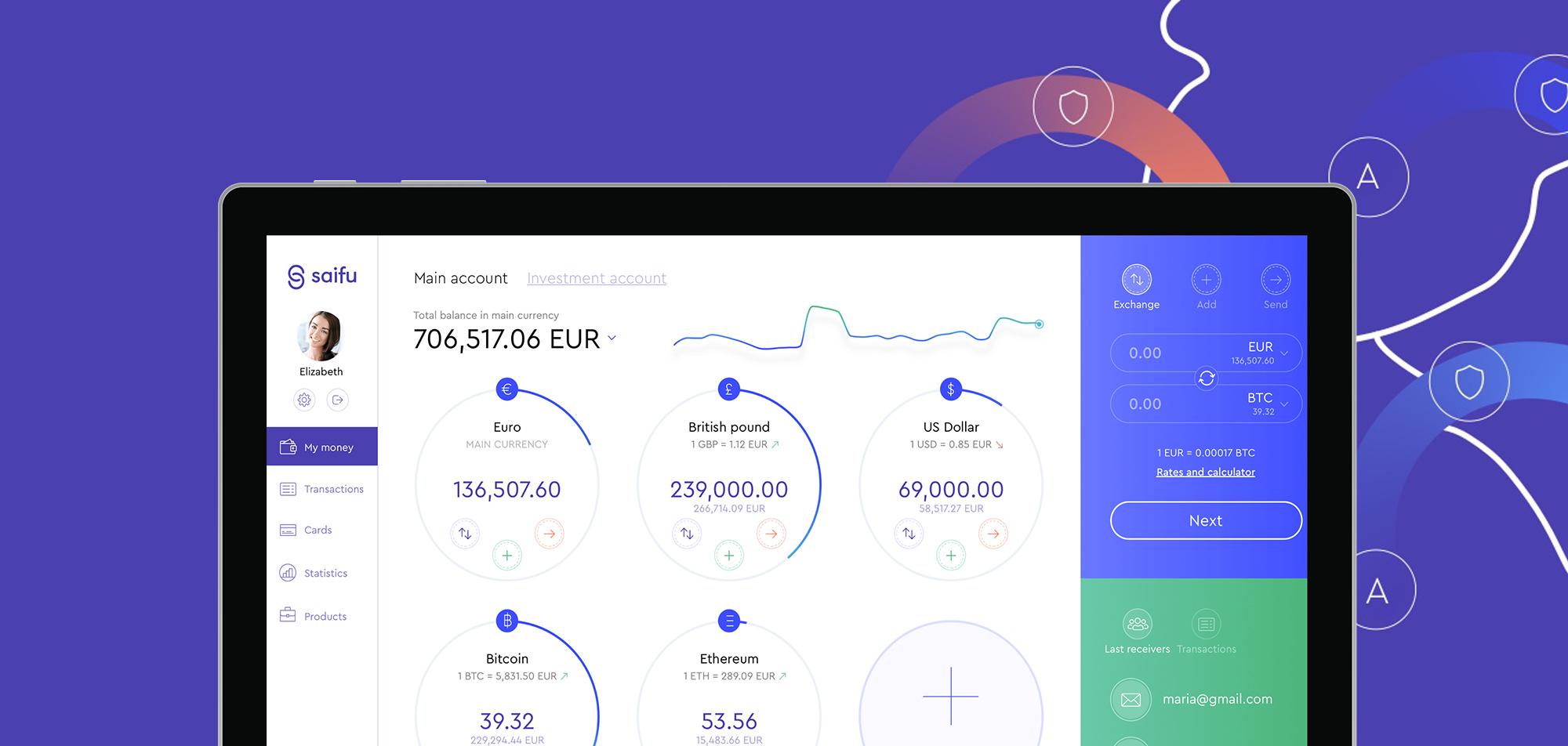 Webová podoba finanční aplikace Saifu od společnosti Paymaster a.s.