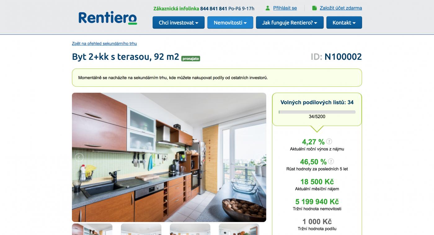 Detail investiční příležitosti na Rentiero