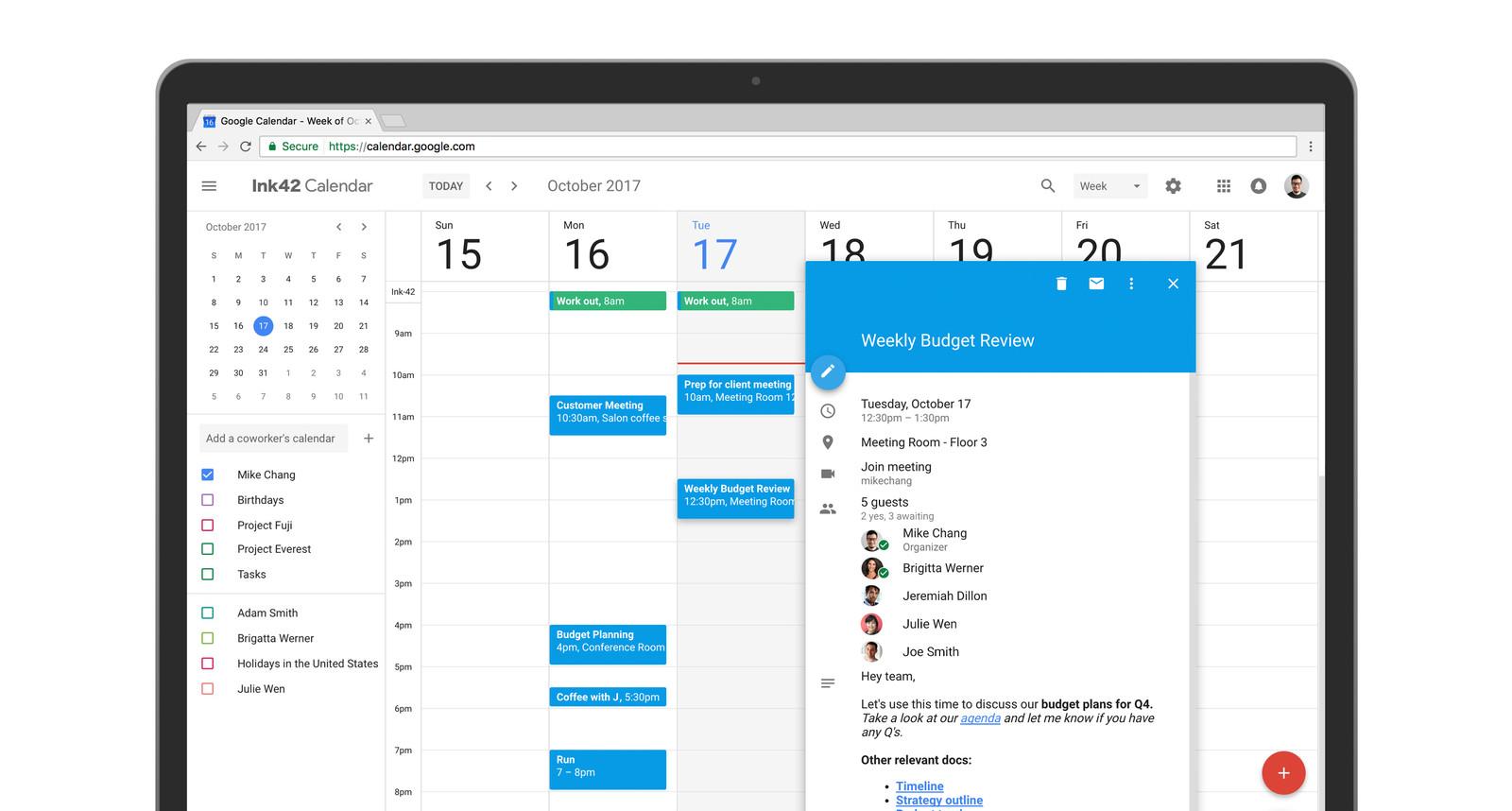 Aktuální, modernější vzhled online kalendáře Google Calendar