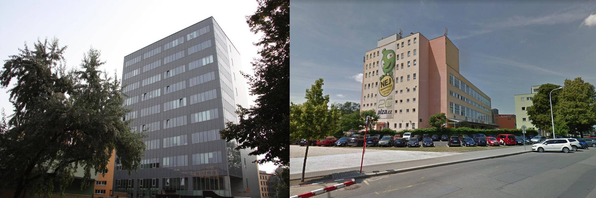 Vlevo: kancelářská budova Hall Office Parku. Vpravo: sídlo Alzy