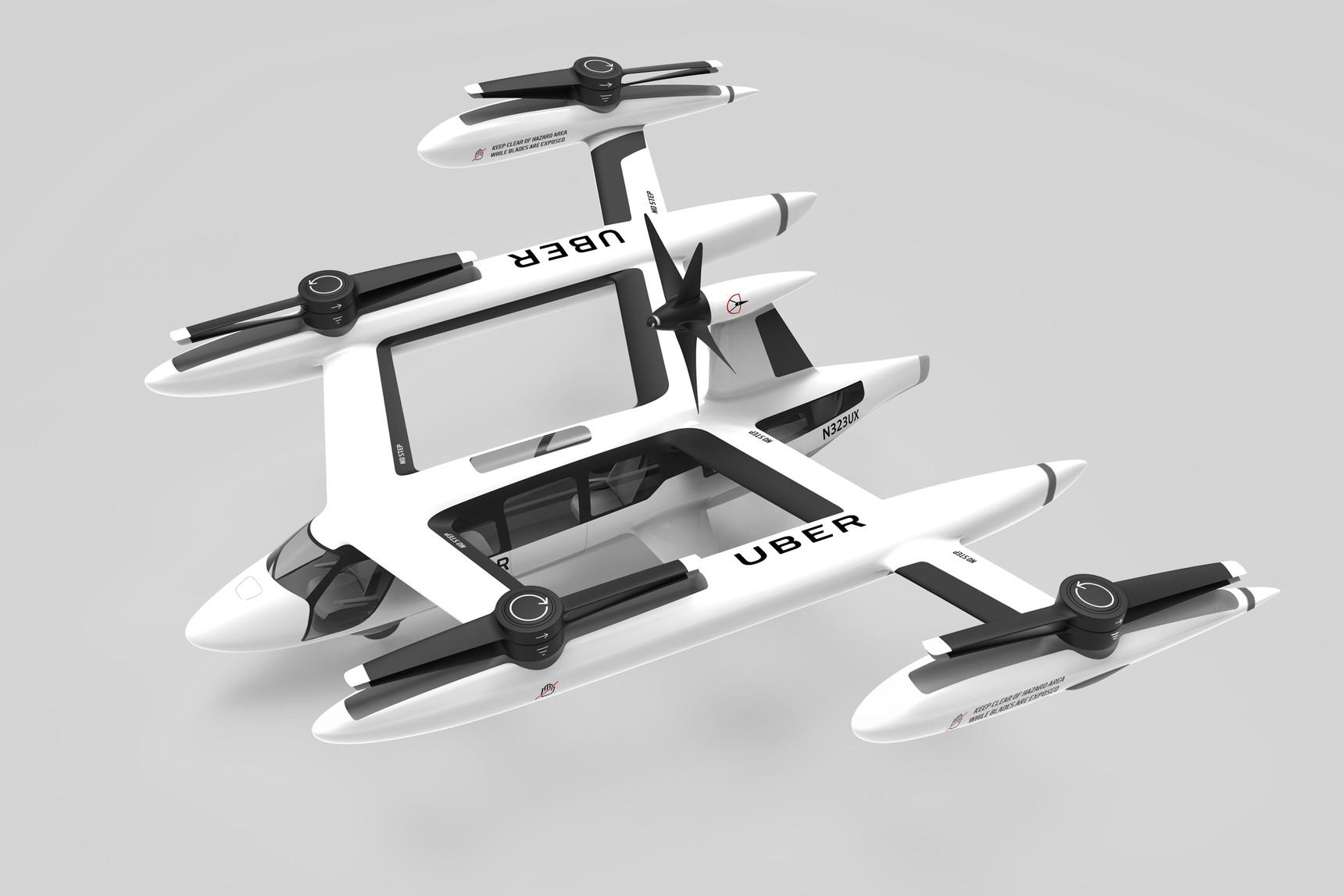 Koncept elektrického letadla s vertikálním vzletem a přistáním (eVTOL) od Uberu