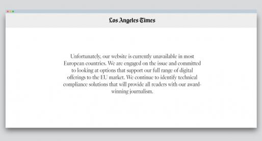 V Evropské unii jsou kvůli GDPR nedostupné weby velkých amerických médií včetně LA Times