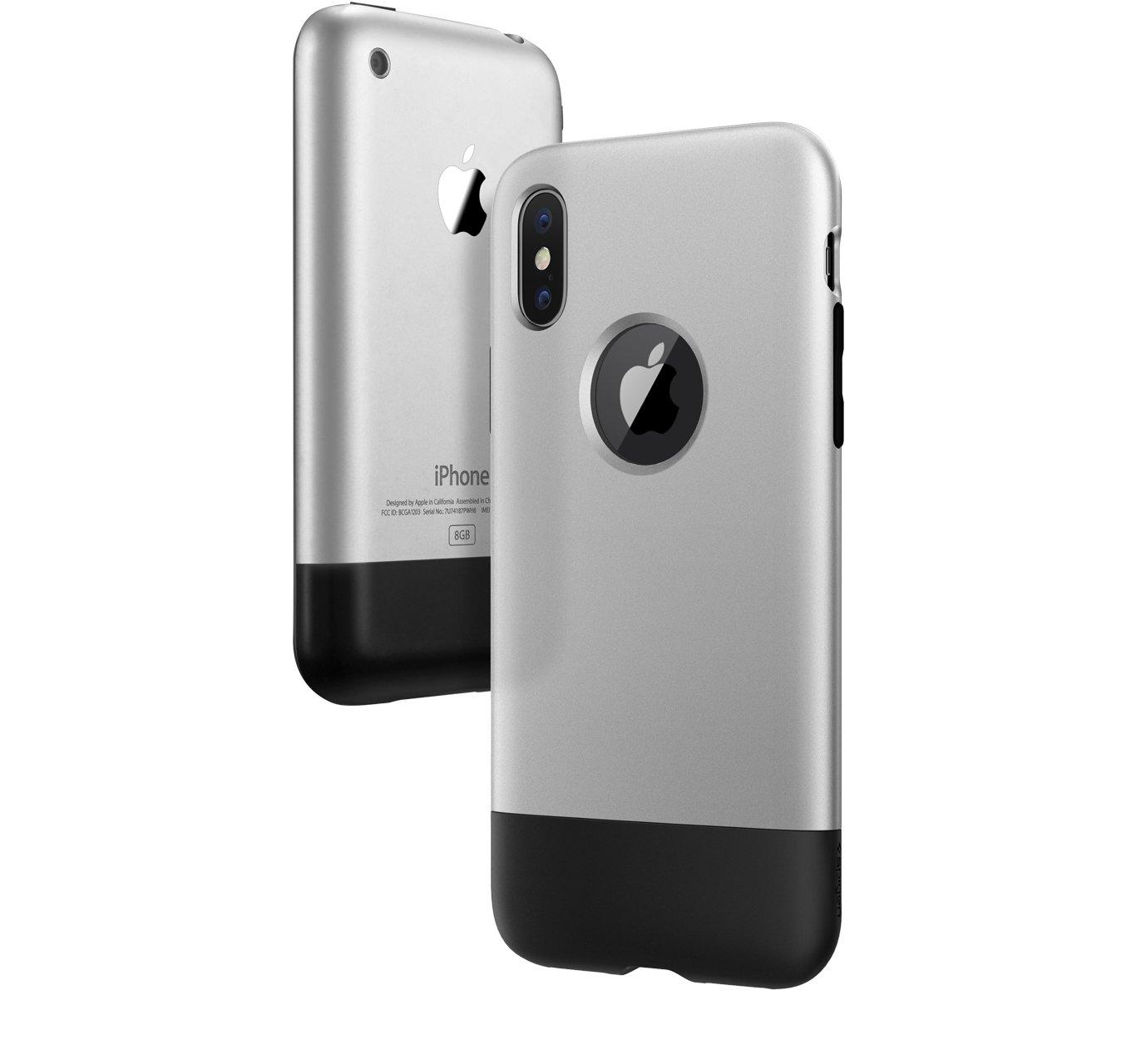 Porovnání vzhledu prvního iPhonu a iPhonu X v novém krytu