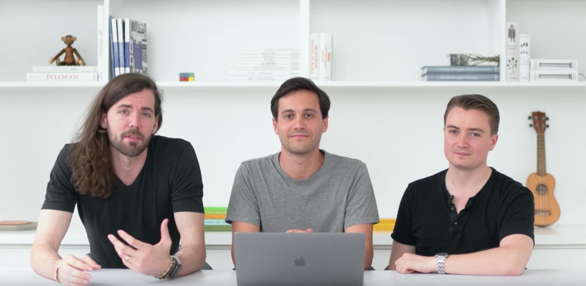 Trojice zakladatelů, zleva Adam Menges, Mike Matas a Markus Beissinger