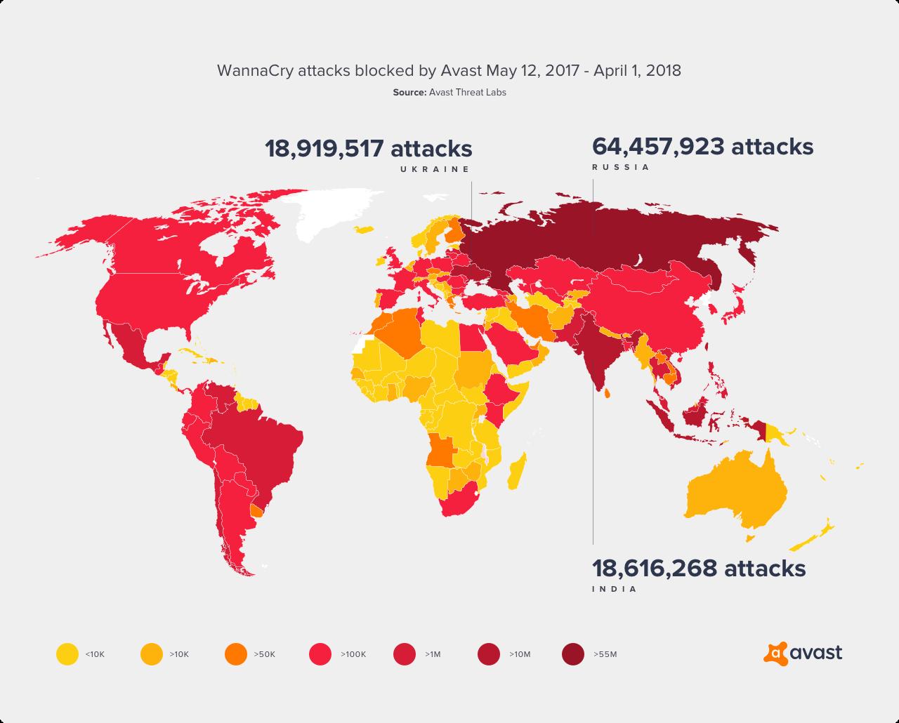 Mapa s přehledem útoků WannaCry, které Avast zablokoval v období od 12. května 2017 do 1. dubna 2018