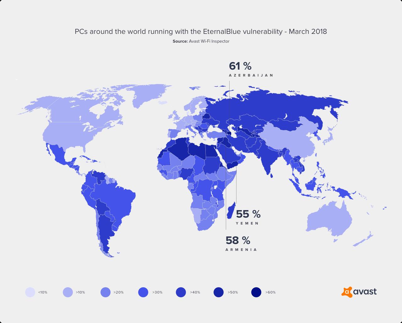 Mapa rozmístění počítačů, které stále obsahují zranitelnost EternalBlue (data z března 2018)