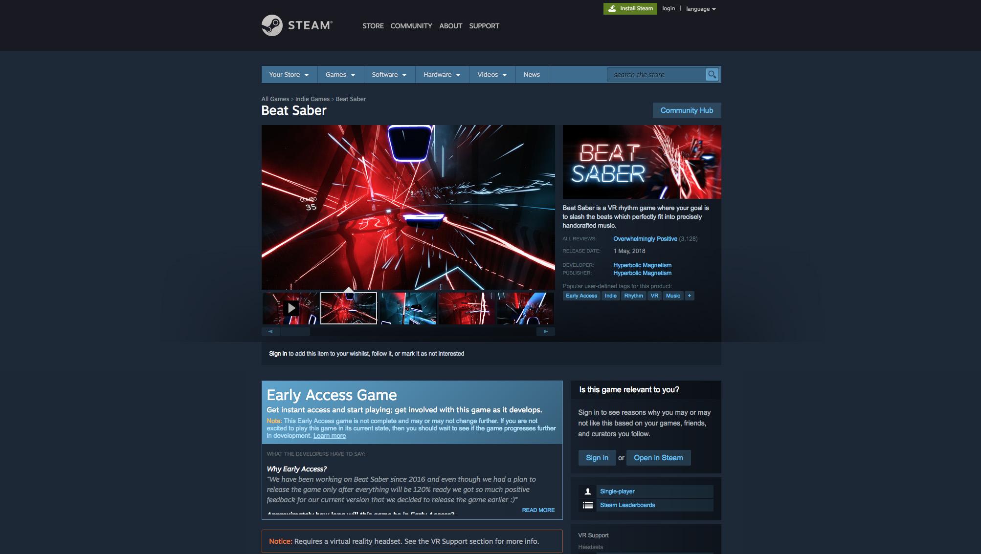 Na Steamu se Beat Saber těší v průměru hodnocení 10 z 10