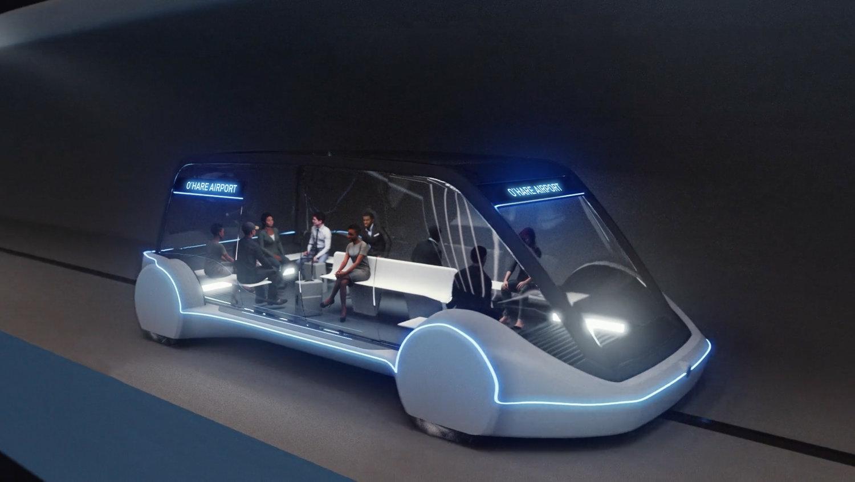 Design kapsle od The Boring Company, která má současně pojmout až 16 cestujících