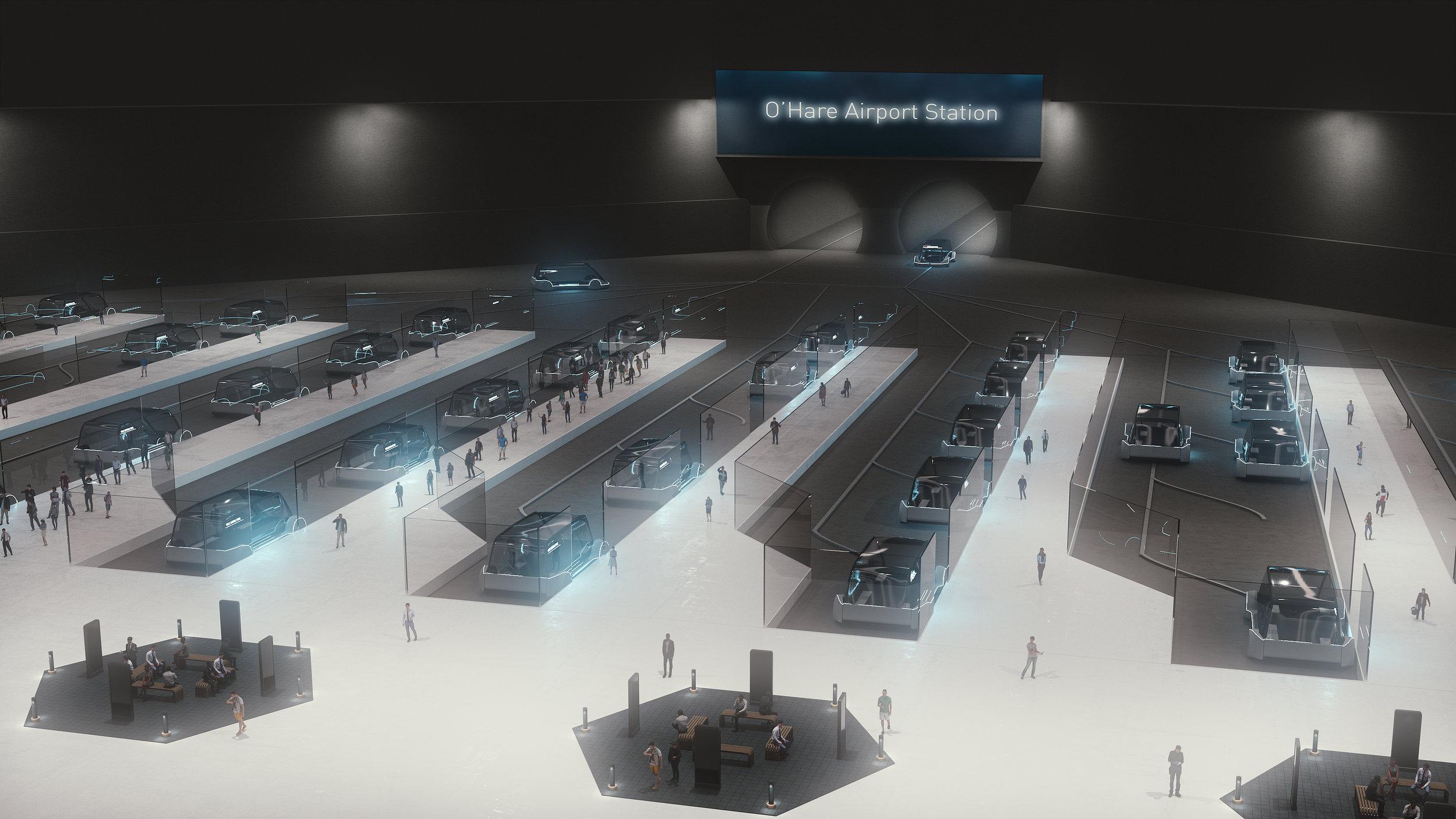 Takto by měla vypadat hlavní stanice chystaného podzemního systému na letišti O'Hare