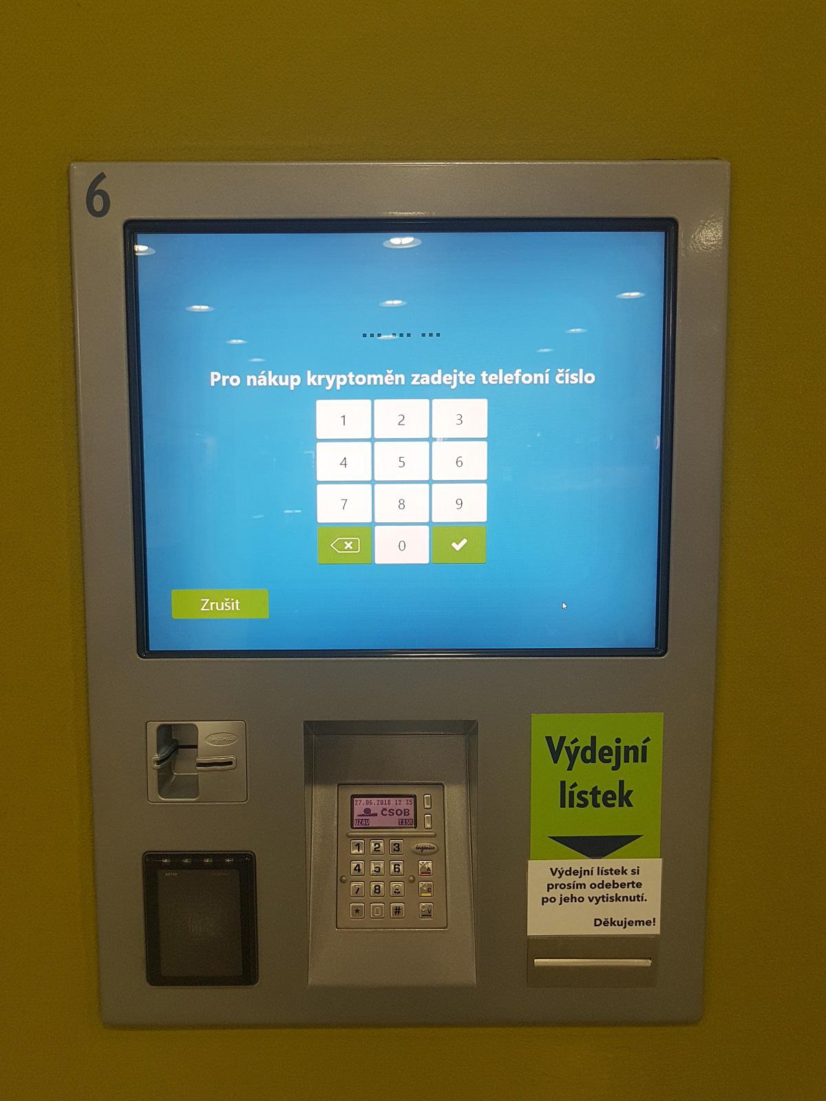 Nákup kryptoměn prostřednictvím platebního terminálu