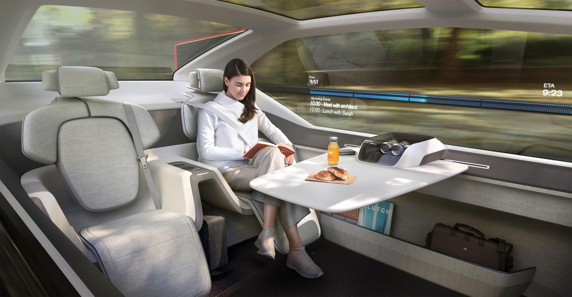Interiér konceptu Volvo 360c nabízí různá využití