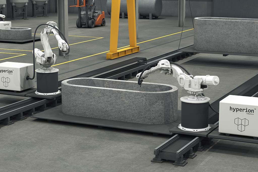 Robotická technologie pro 3D tisk betonu od Hyperion Robotics