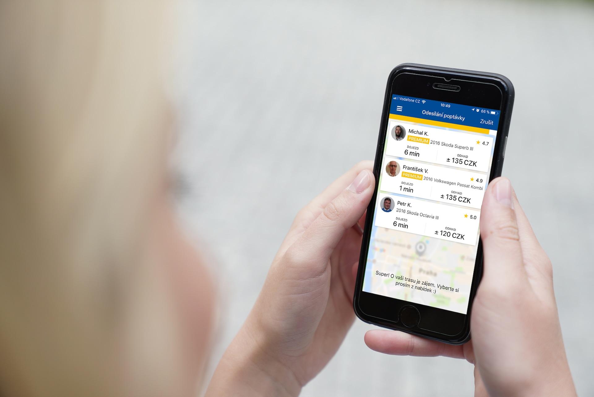 Mobilní aplikace Liftago