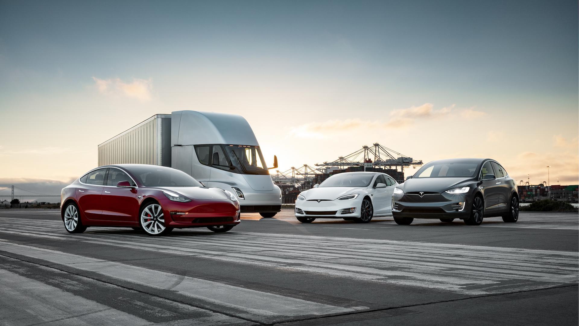 Tesla Model 3, Model S, Model X a chystaný nákladní automobil Semi