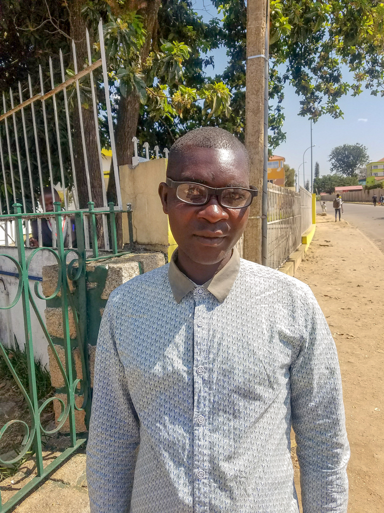 První majitel DOT Glasses (Samuel, Rwanda 2018)
