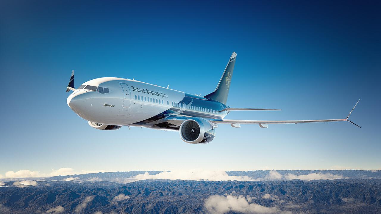 Vnější pohled na předchozí generaci Boeing BBJ MAX 7