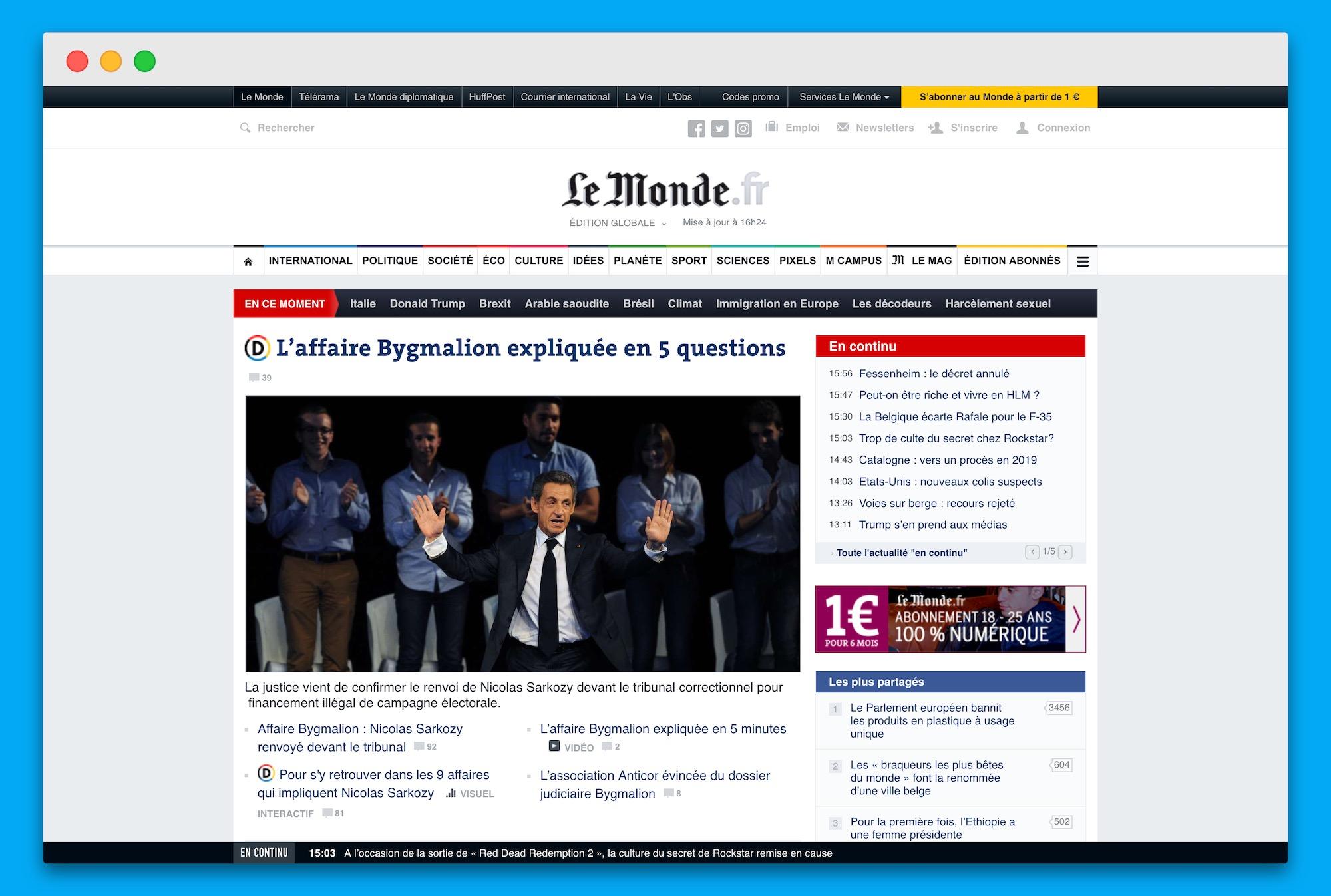 Webové vydání deníku Le Monde