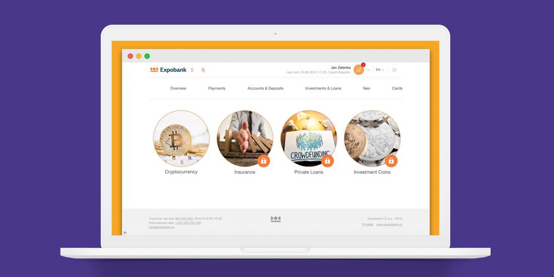 Hlavní rozhraní NEO účtu od Expobank CZ