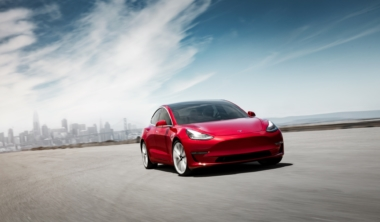 tesla-Model 3 Performance – Red Front Motion – SF Skyline