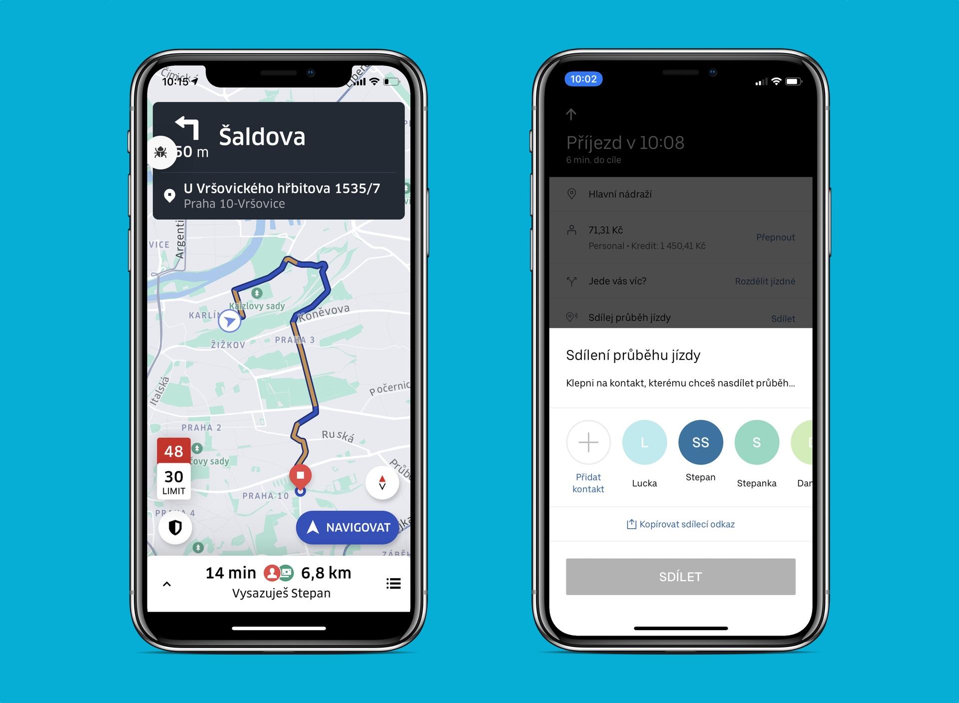 Novinky v aplikaci Uber: ikona bezpečnostní centra, kontrola rychlosti a snadnější sdílení jízdy
