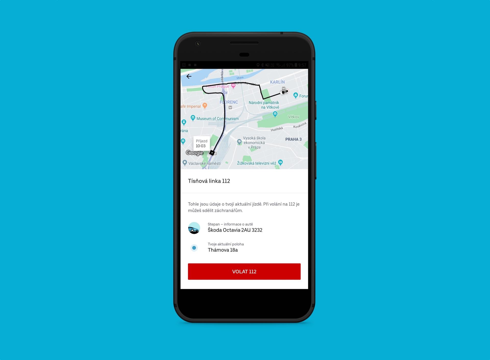Při volání na tísňovou linku vám Uber poskytne všechny důležité informace