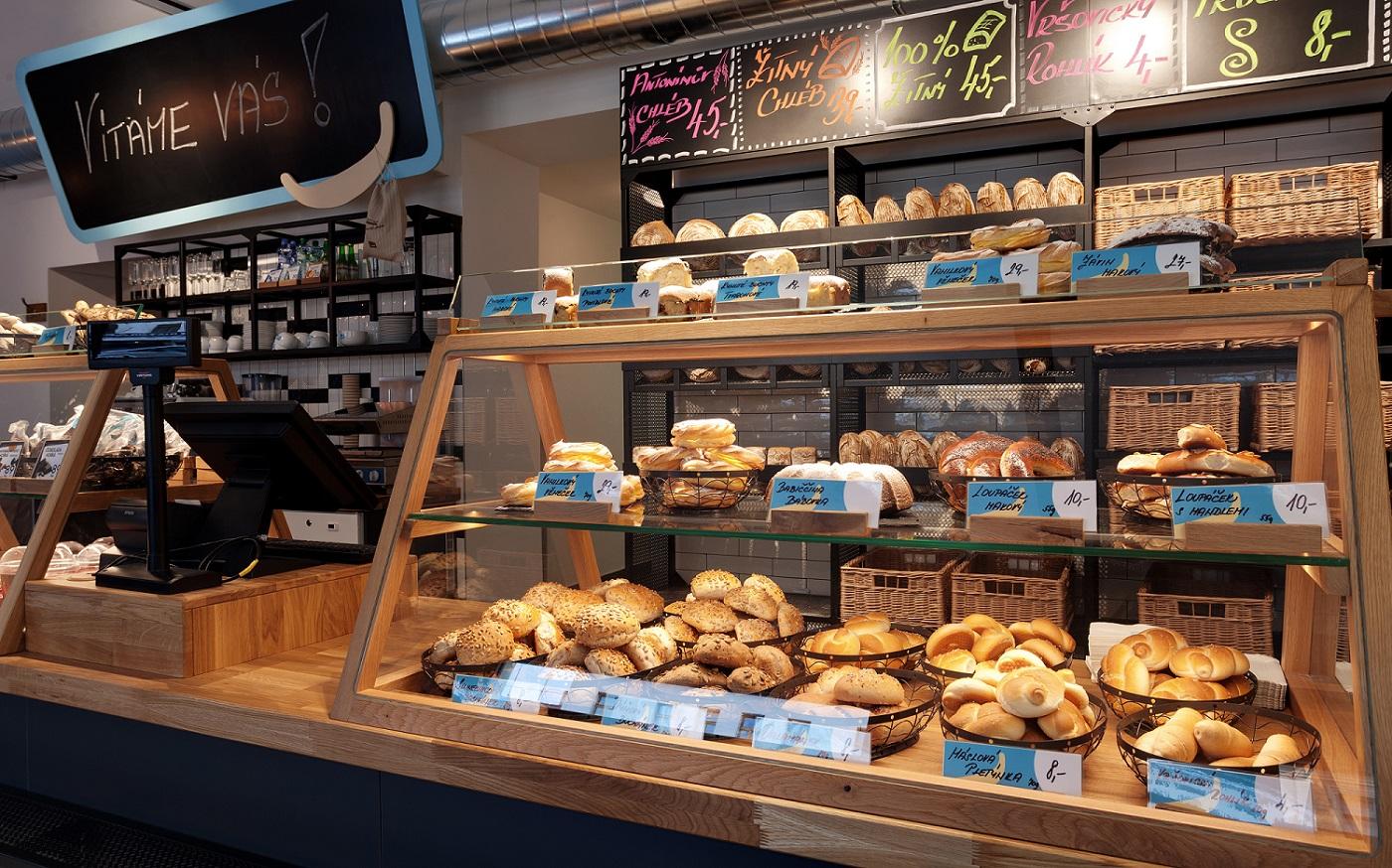 Interiér prodejny Antonínovo pekařství