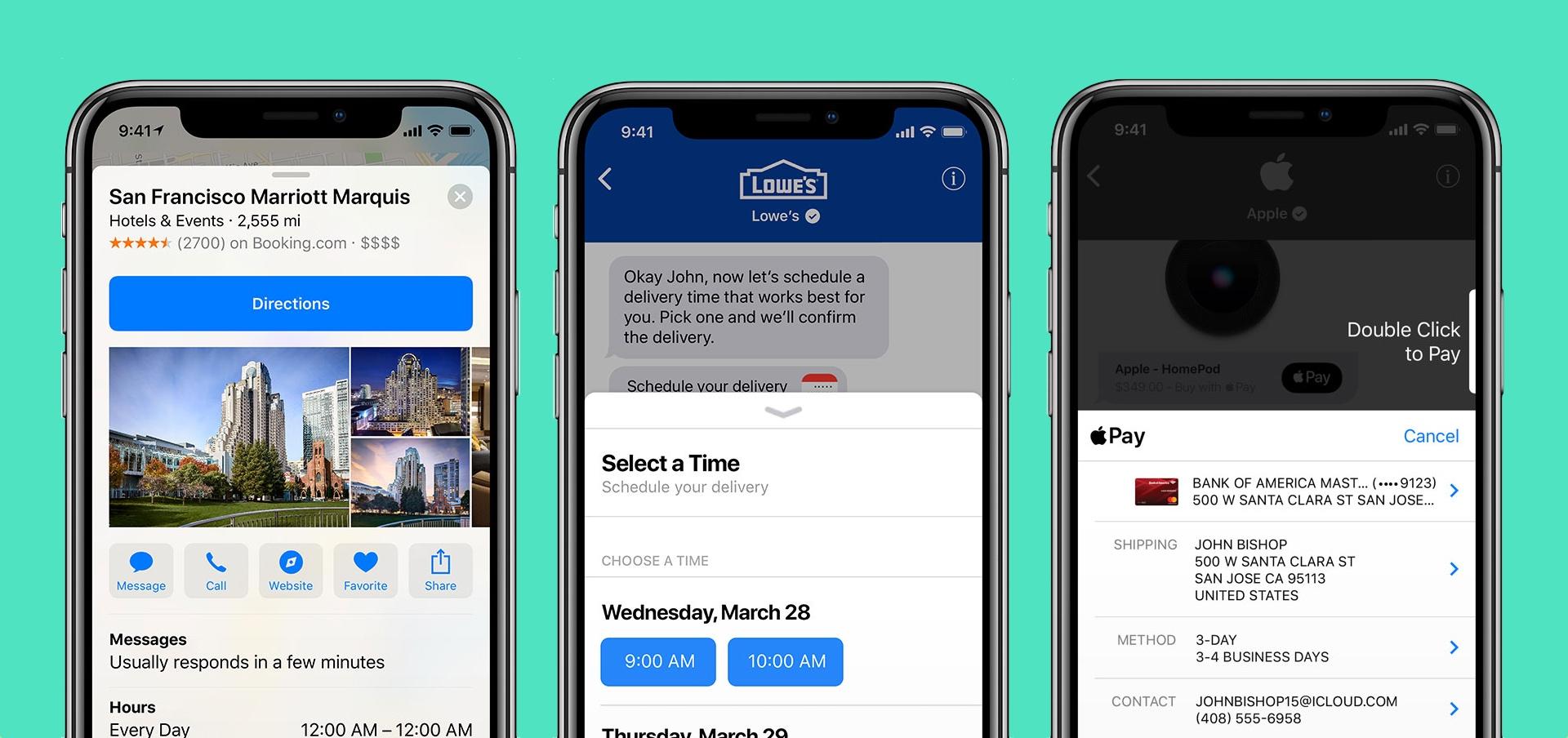 Přes Apple Business Chat lze sjednat schůzku nebo zaplatit přes Apple Pay