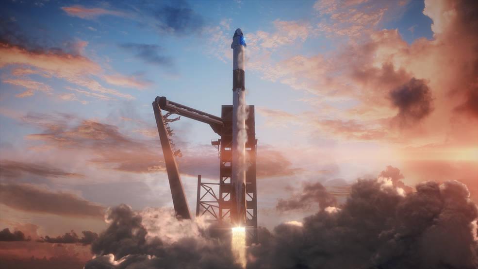 Ilustrace rakety Falcon 9 s lodí Crew Dragon