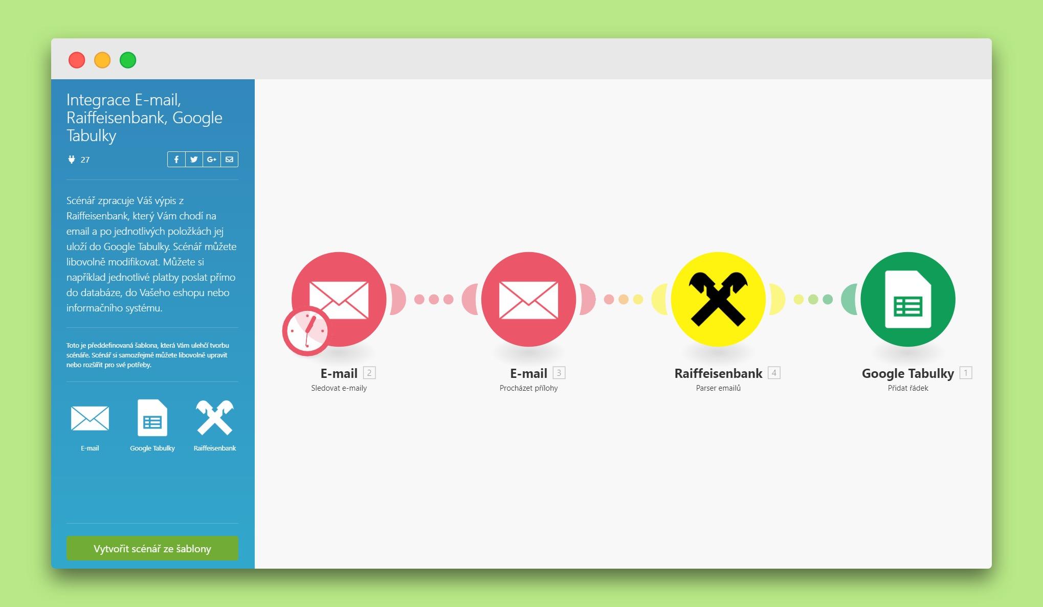 Příklad propojení e-mailů, výpisů z banky a Google Tabulek v Integromatu