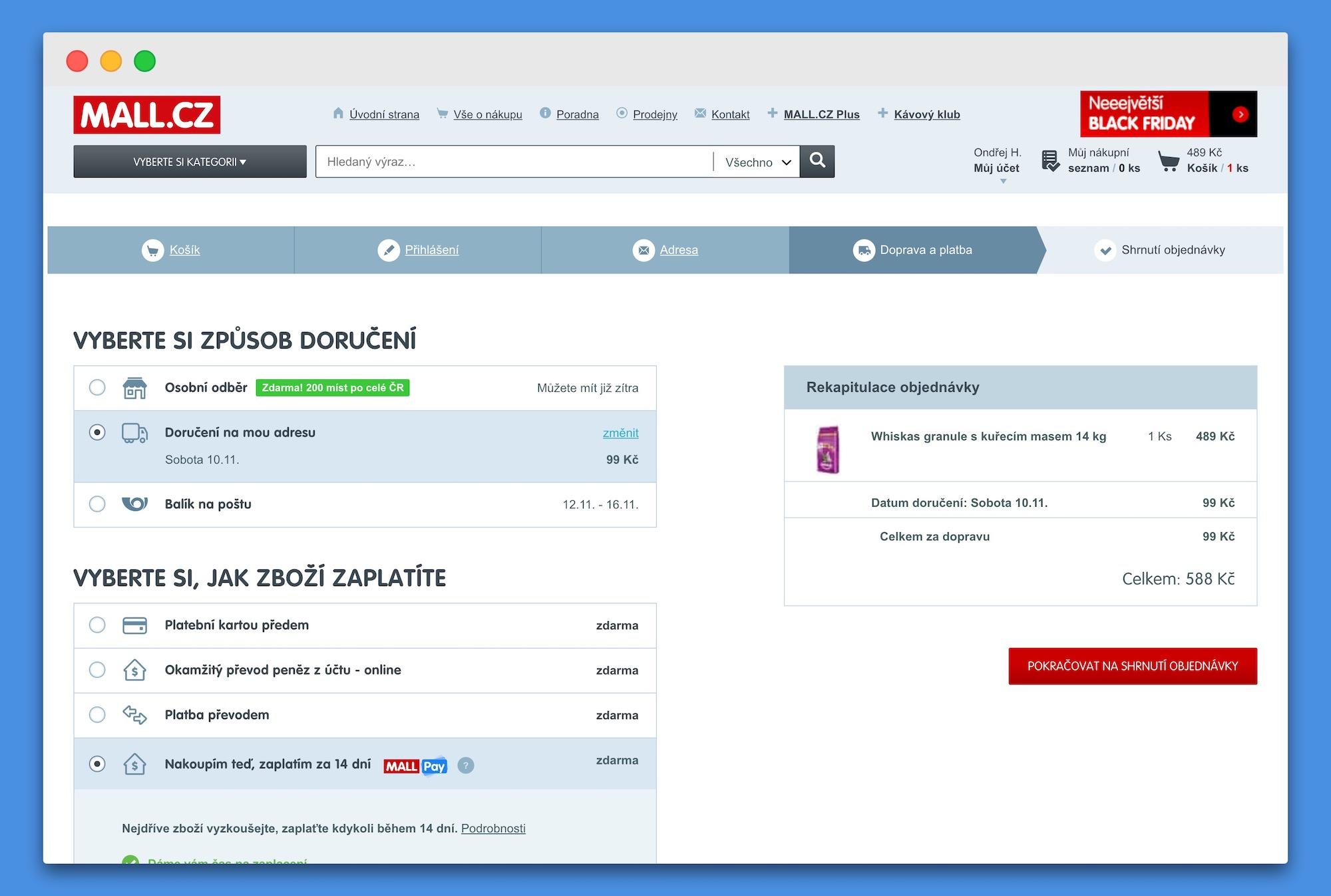 Odložená platba Mall Pay na Mall.cz