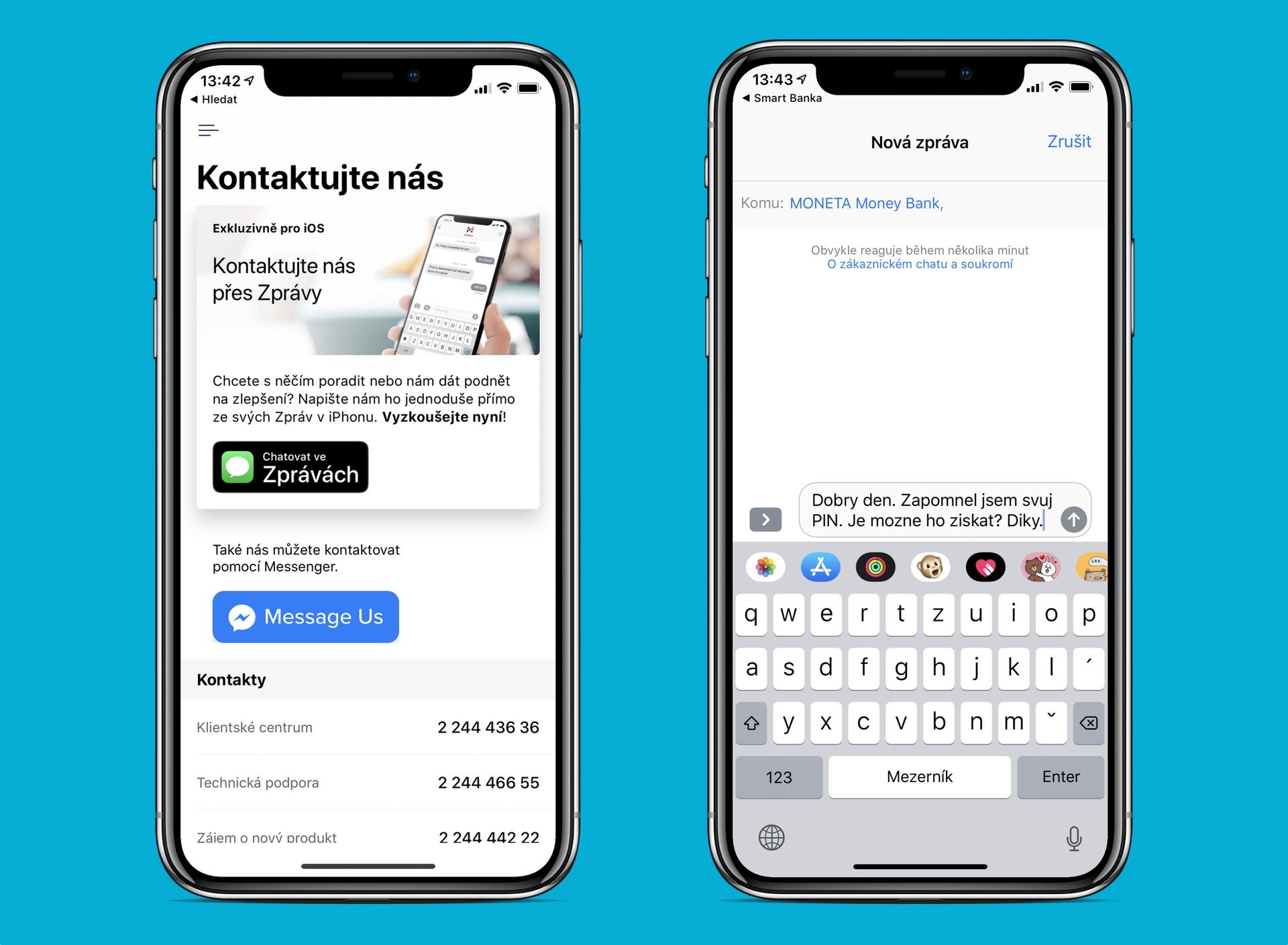 Moneta Money Bank nově umožňuje komunikaci přes Apple Business Chat