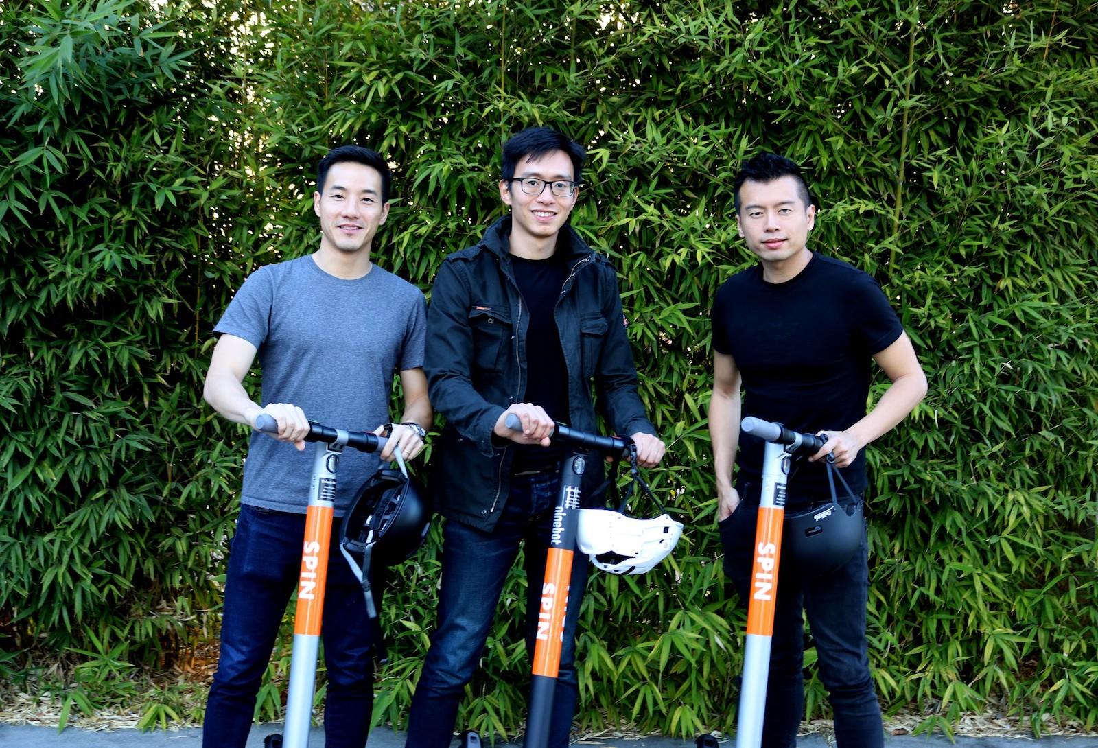 Zakladatelé Spinu Zaizhuang Cheng, Derrick Ko a Euwyn Poon