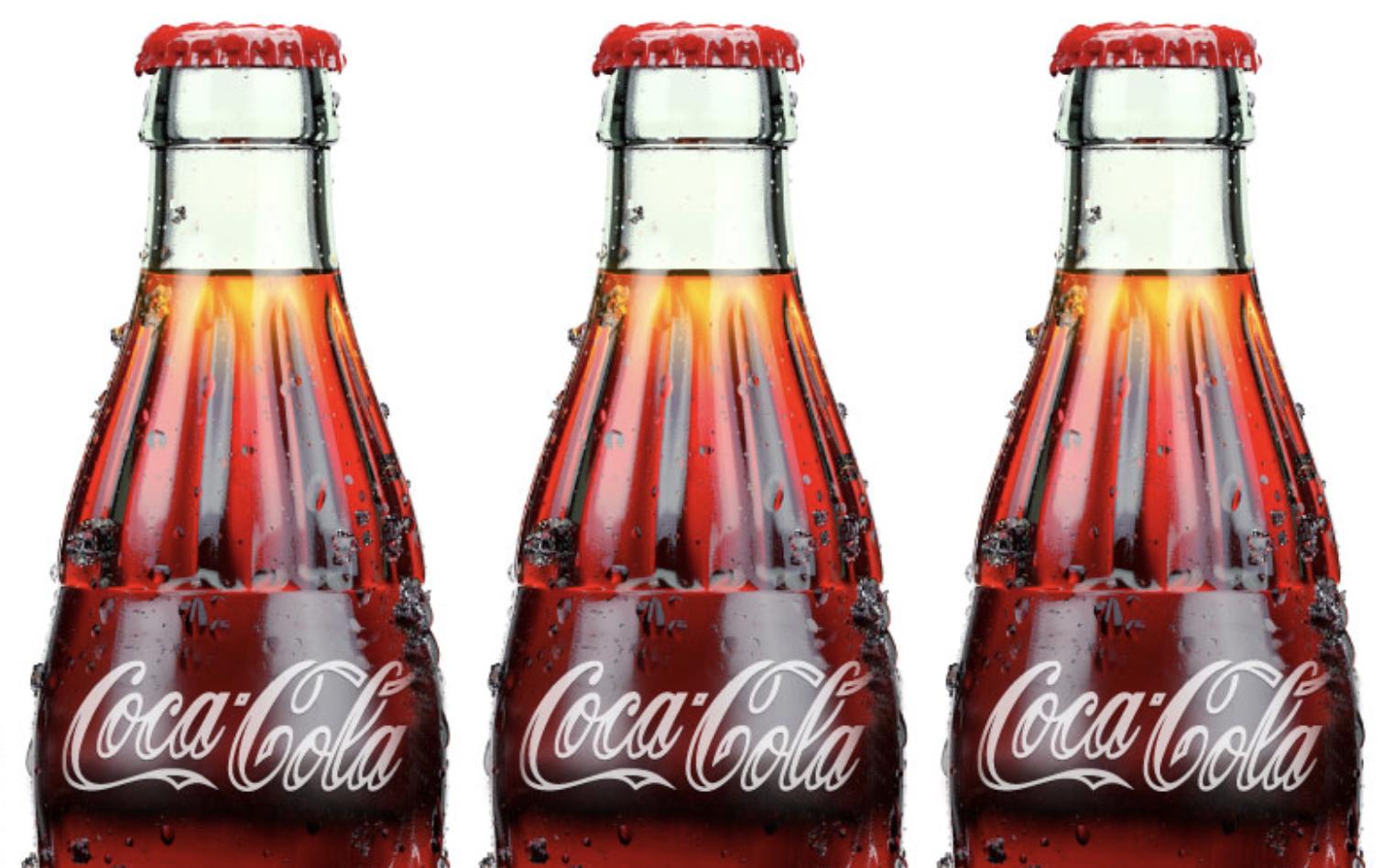 Ekologické logo Coca-Coly v praxi. Vynecháním částečné výplně má ušetřit až 13 % inkoustu