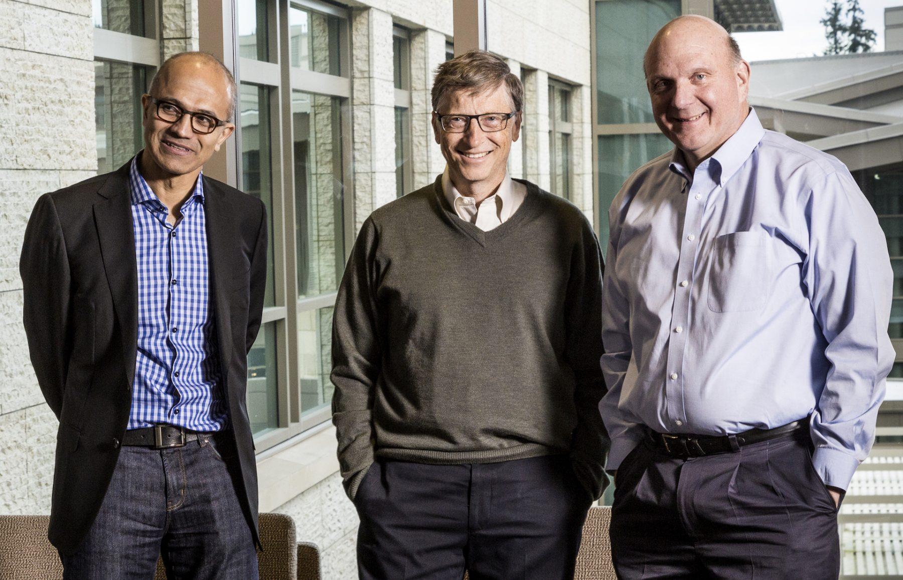 Satya Nadella, Bill Gates a Steve Ballmer