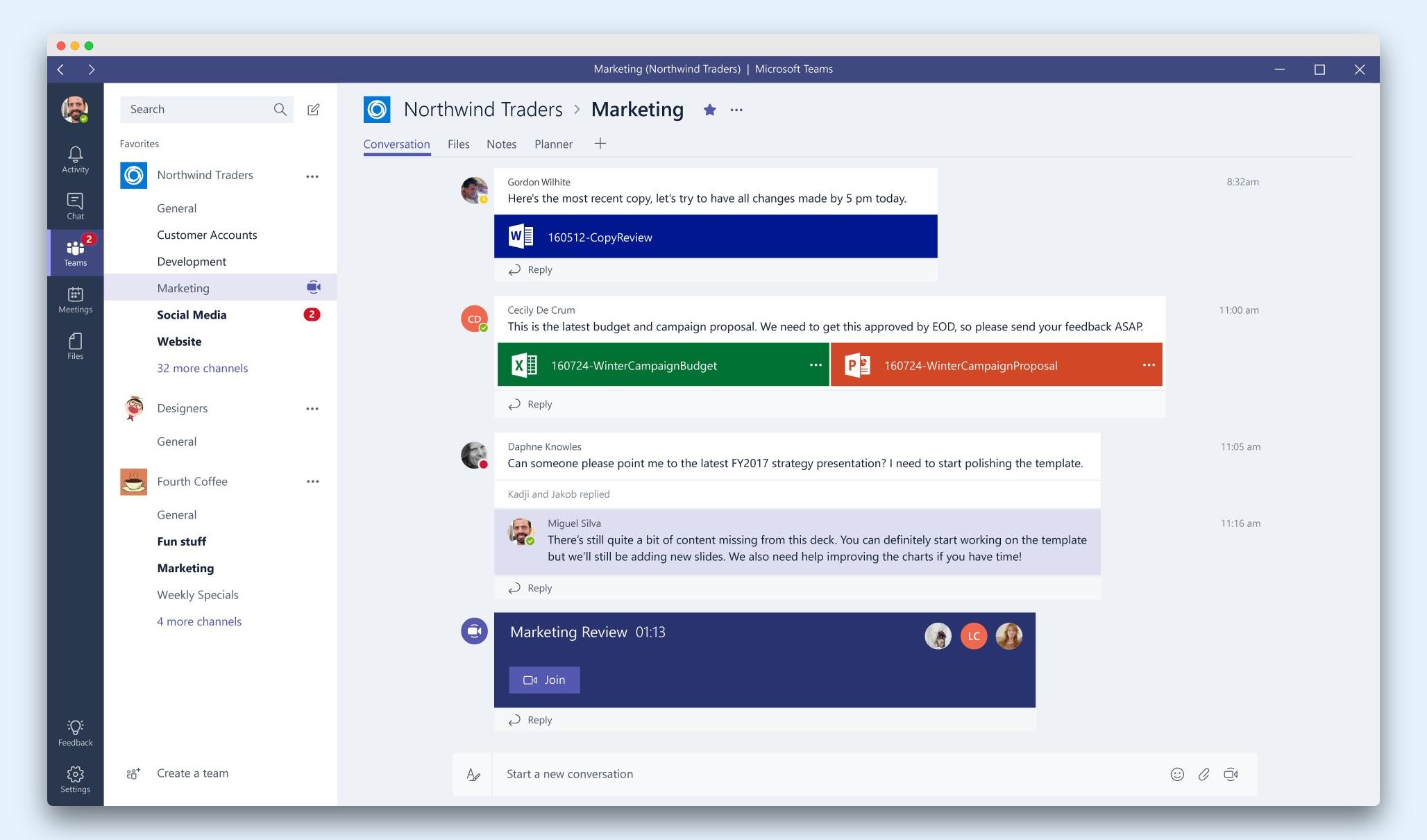Rozhraní Microsoft Teams