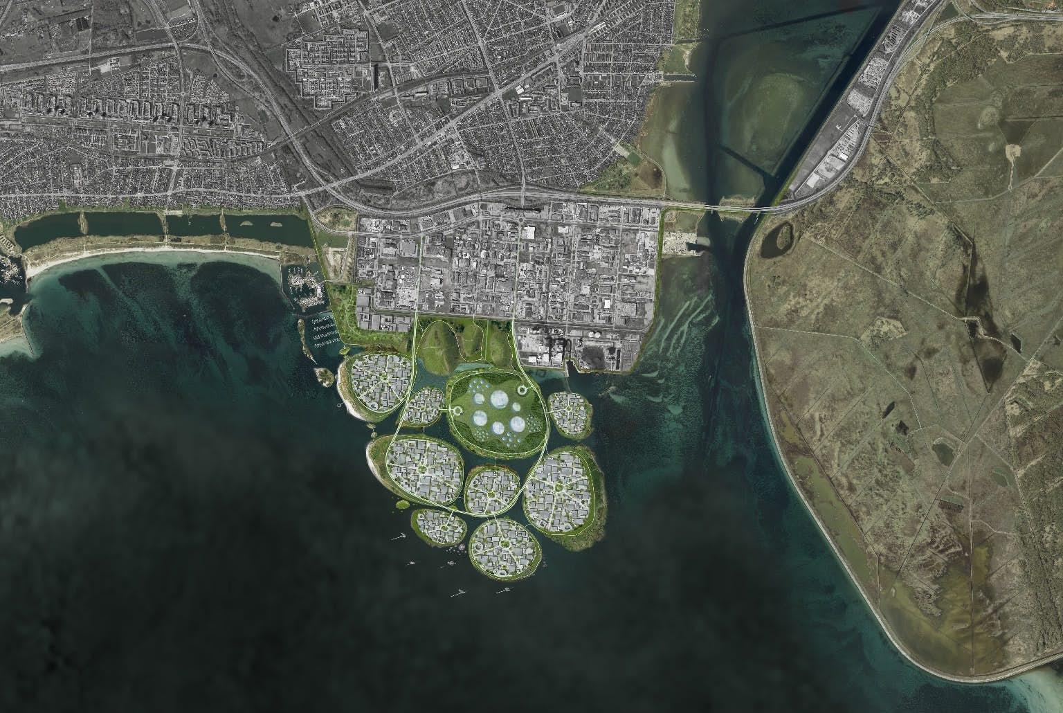 Ostrovy budou od jihu Kodaně vzdálené asi 10 kilometrů