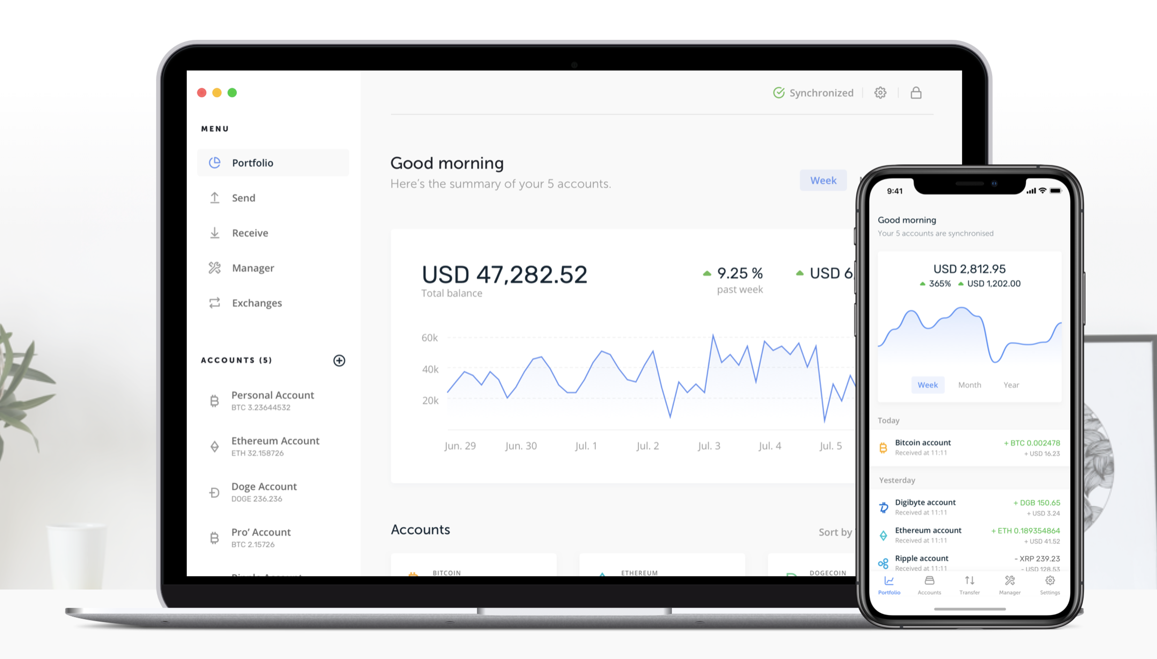 Aplikace pro správu transakcí a portfolia v Ledger Nano