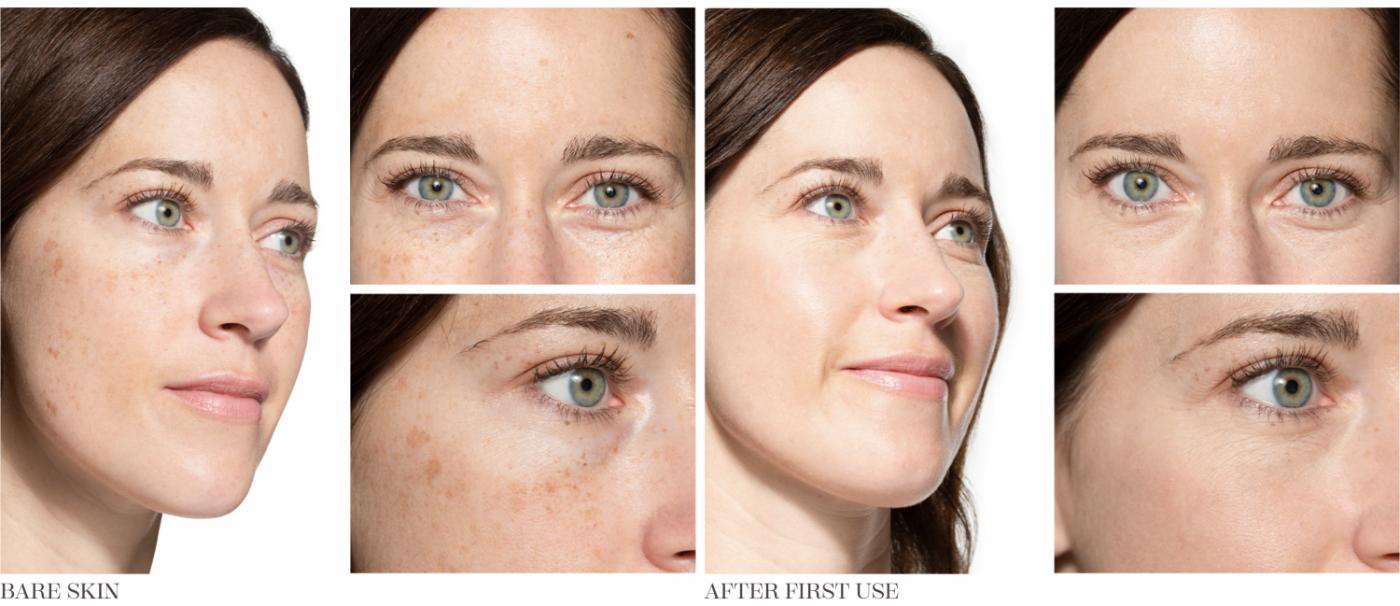 Vlevo původní tvář a vpravo výsledek po prvním použití Opté