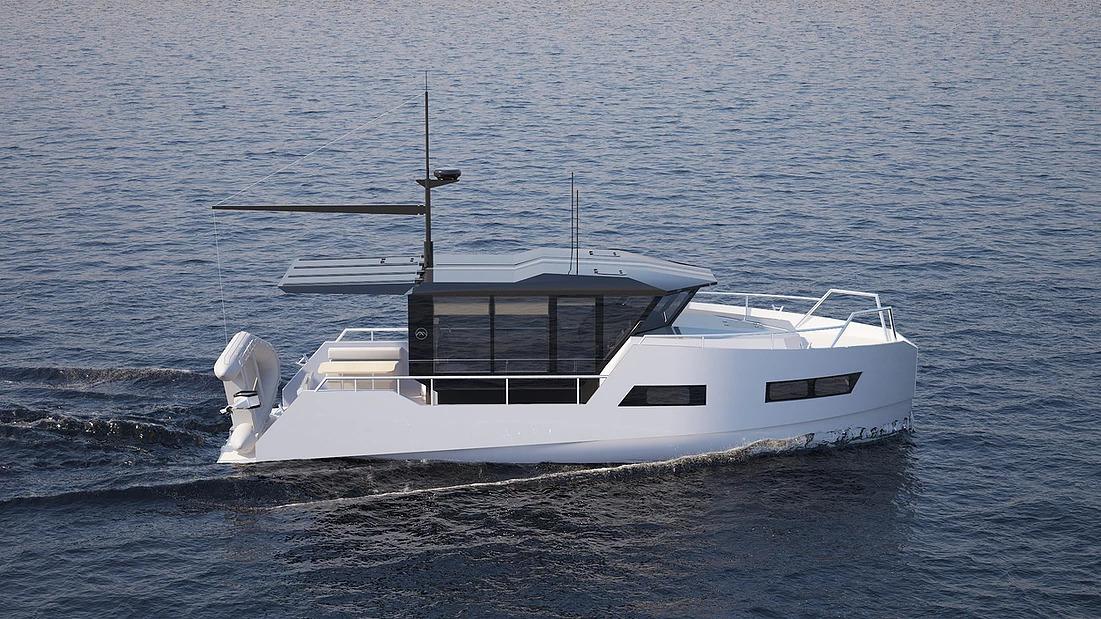 Na střeše lodě je k dispozici i speciálně upravené rameno pro zachycování skútrů či člunů
