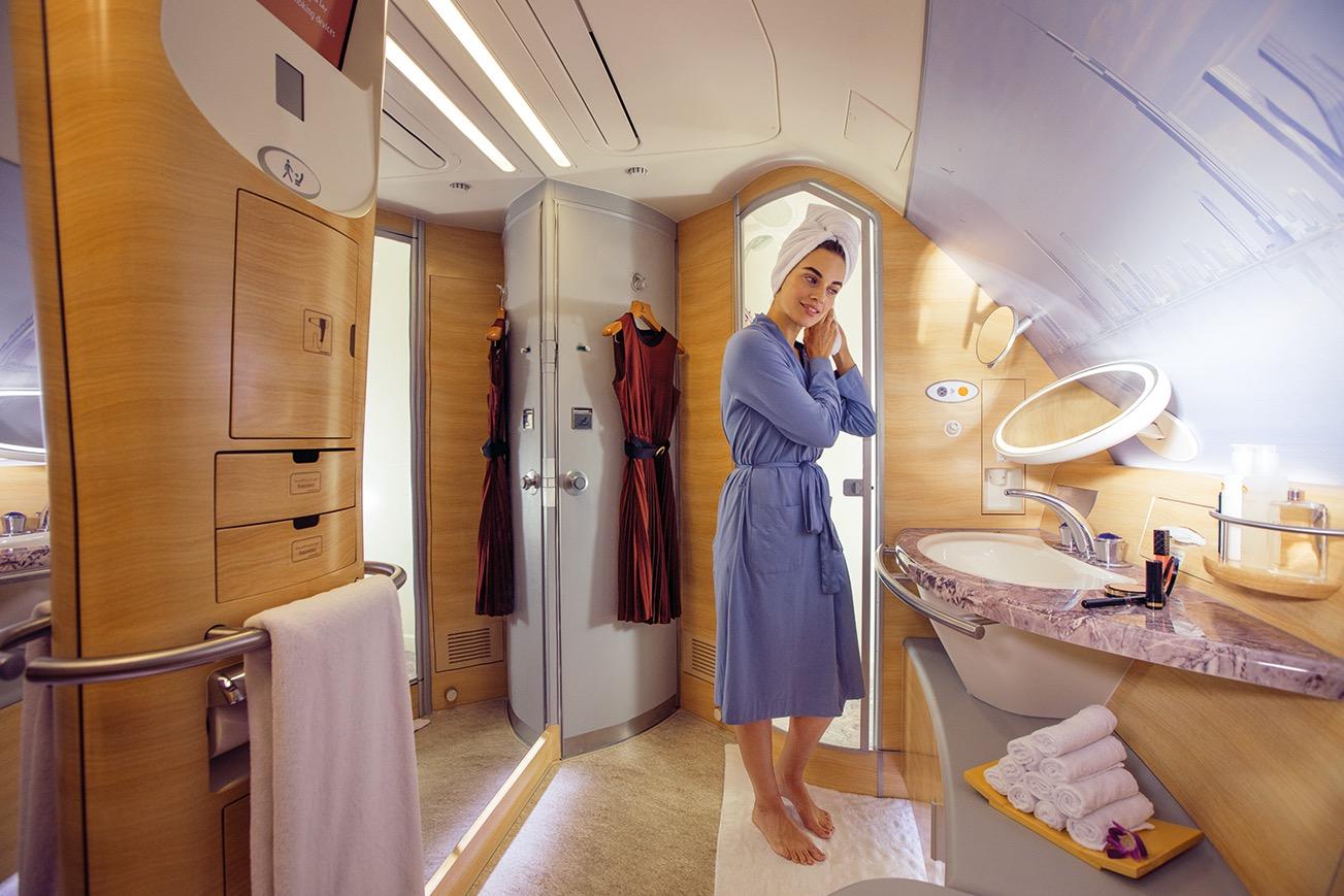 Sprcha v Airbusu A380 od Emirates